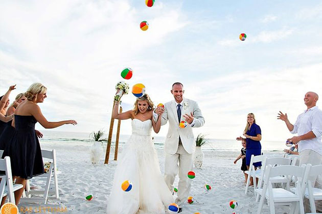 Beach balls wedding exit