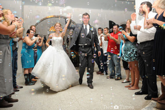 Bubbles wedding exit