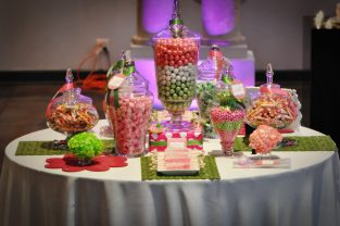 candy station, pink and green candy station, sweet 15, quince, bar mitzvah